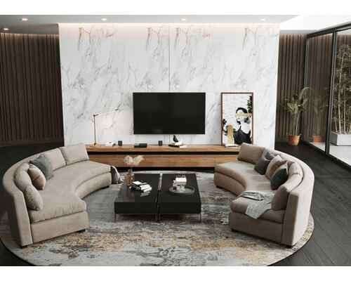 Round sofa and weekend tv unit